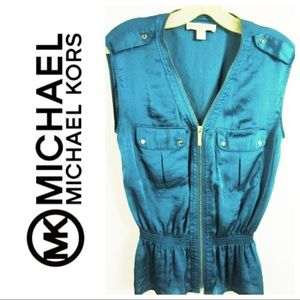 Michael Kors blouse sleeveless zip up satin teal